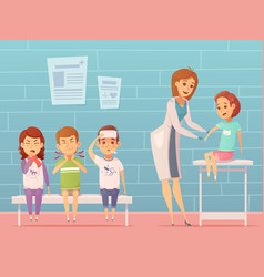 Children visit pediatrician composition vector