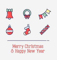 christmas and new year thin line symbols vector image