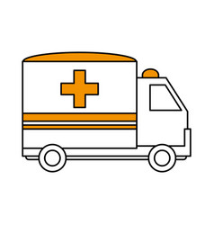 color silhouette image cartoon ambulance truck vector image
