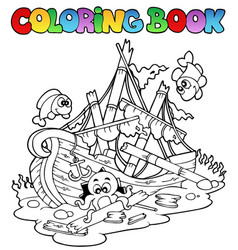 Coloring book with shipwreck vector