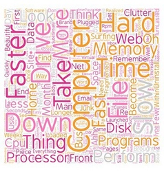 Computer No Longer Fast text background wordcloud vector image