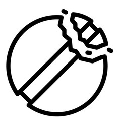 Cracked pill icon outline style vector