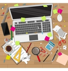 Creative mess wooden desk chaos on table vector