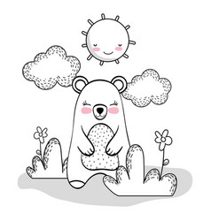 cute bear with happy sun and clouds vector image
