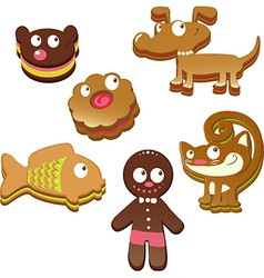 Cute christmas gingerbread cookies isolated vector