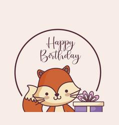 Cute fox happy birthday card and gift vector