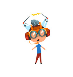 Cute funny kid in fantastic headdress and glasses vector