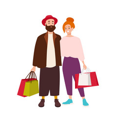 cute happy couple carrying shopping bags smiling vector image