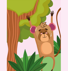 cute monkey hanging branch tree grass forest vector image