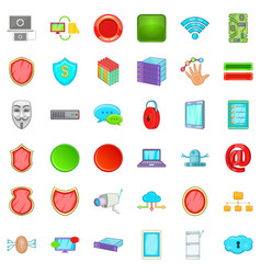 Cyber security icons set cartoon style vector