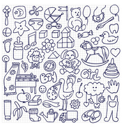 doodle baby objects vector image