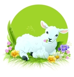 Eid al Adha White lamb lying on grass vector
