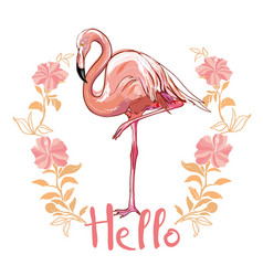 Flamingo isolated on background pink flamingo vector