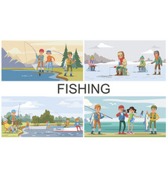 Flat fishing hobby composition vector