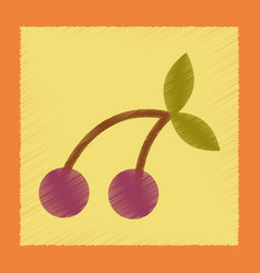 Flat shading style icon cherry fruit vector