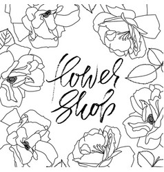 flower shop logo calligraphy template design vector image