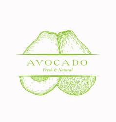 Fresh organic avocado abstract sign symbol vector
