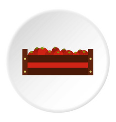 Fresh vegetables in a box icon circle vector