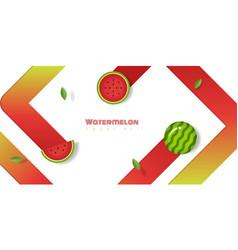 fresh watermelon fruit background paper art style vector image