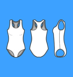 Front back and side views of blank swimsuit vector image