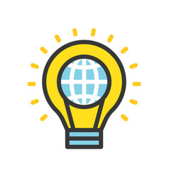 globe in light bulb saving energy filled outline vector image