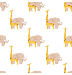 Graphic giraffe and big elephant seamless pattern vector