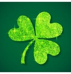 Green shining glitter glamour clover leaf on dark vector image