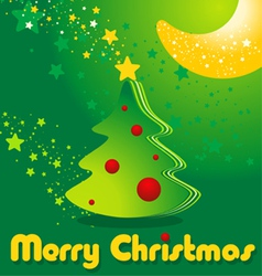 Greeting card with Christmas tree stars and moon vector