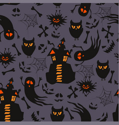 halloween seamless pattern with ghosts vector image