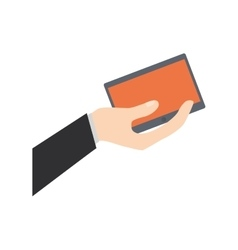 Hand holding tablet technology shop online vector