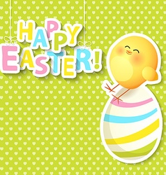 Happy Easter Greeting Card with egg and chicken vector image vector image