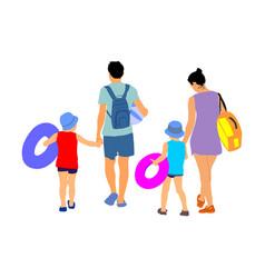 Happy family enjoying on beach vector
