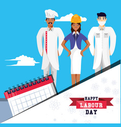 Happy labour day with group professionals vector
