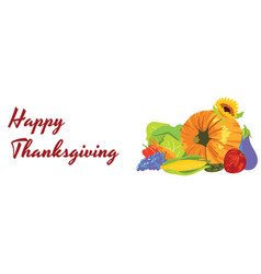 happy thanksgiving bunch of fruits and vegetables vector image