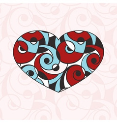 Heart on Seamless Abstract Monochrome Pattern vector image