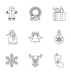 Holiday icons set outline style vector image