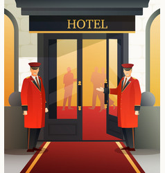 Hotel doormen flat composition vector