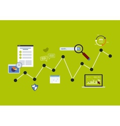 Icons set of analytics search information vector image