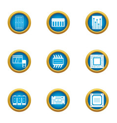 integrated circuit icons set flat style vector image