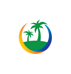 island palm tree travel business vector image