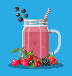 Jar with mixed berries smoothie with striped straw vector