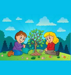 Kids planting tree theme image 3 vector