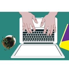 Lap top with hands vector