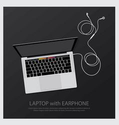 Laptop with music earphones vector
