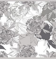 line sketch peonies seamless pattern in black vector image