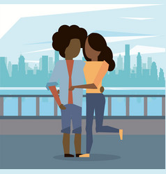 man and woman afro couple hugging vector image
