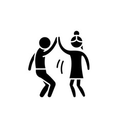 man and woman are dancing black icon sign vector image
