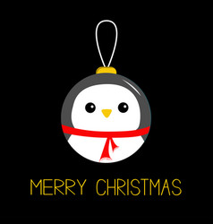 Merry christmas ball toy hanging penguin bird vector