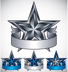 Metallic star label with blank banner vector