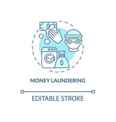 Money laundering blue concept icon vector